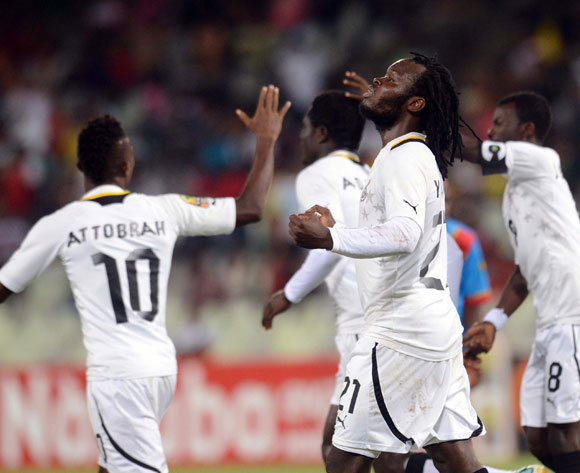 Ghana celebrates during the 2014 CAF African Nations Championships QuarterFinal match between Ghana and DR Congo on the 26 January 2014 at Free State Stadium