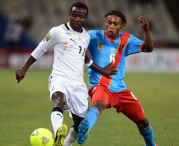 Theophilus Anobaah of Ghana battles with Yannick Bangala of DR Congo during the 2014 CAF African Nations Championships QuarterFinal match between Ghana and DR Congo on the 26 January 2014 at Free State Stadium