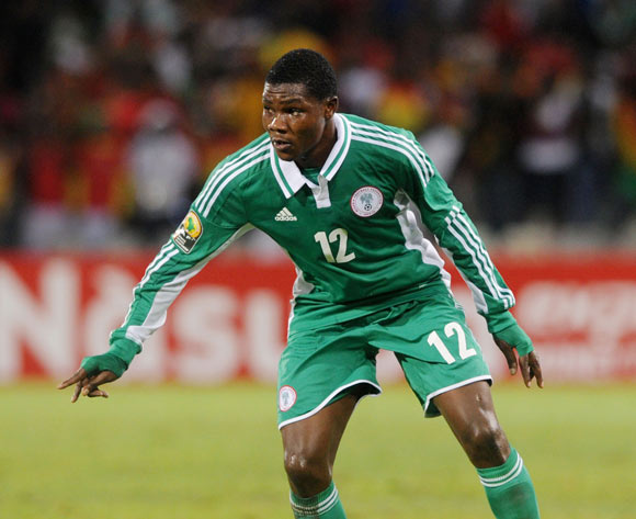 Abubakara Ibrahim of Nigeria during the 2014 CAF African Nations Championships football match between Ghana and Nigeria at Free State Stadium in Free State, on the 29 January 2014
