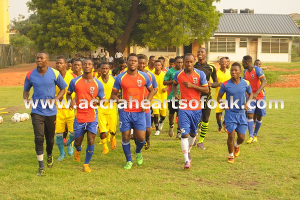 Hearts of Oak players in training.