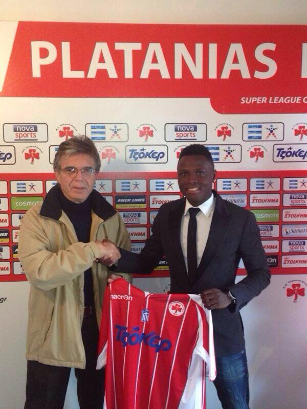 Samuel Inkoom being introduced to the media by his new club Platanias