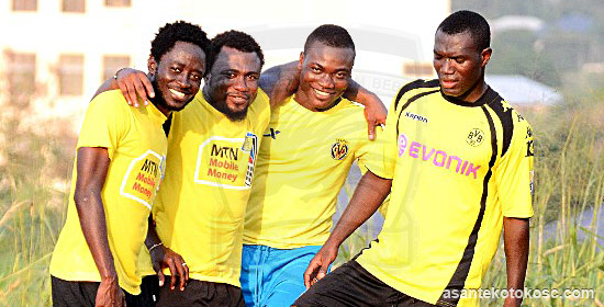 Isaac Boakye, first from right, is working his way back to fitness for Kotoko