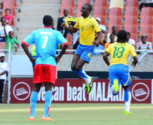 Kabi Tchen of Gabon celebrates his goal