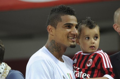 Kevin-Prince Boateng and his first son Jermaine-Prince at AC Milan