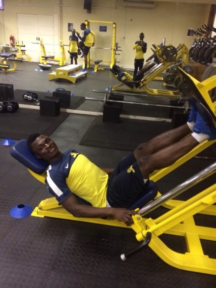 Rashid Sumaila in the gym