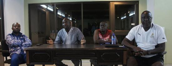 Samson Deen with Ghana FA officials and coach of the team Bashir Hayford