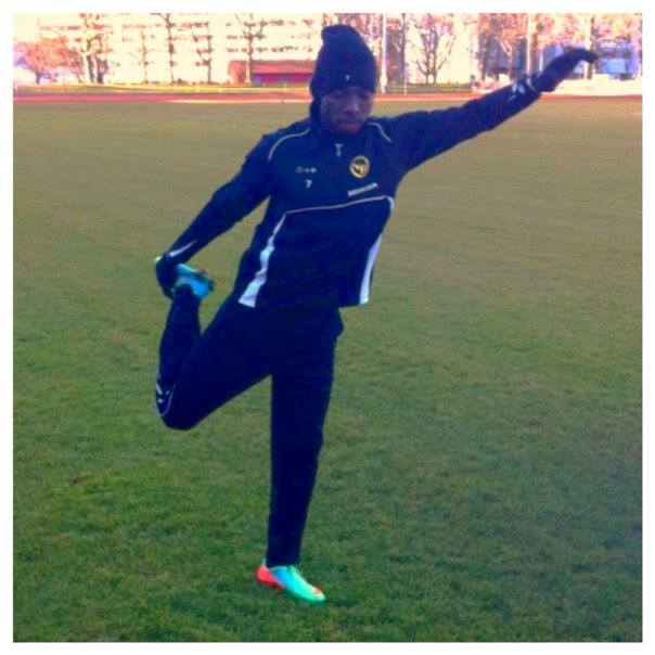 Samuel Afum training with Young Boys in Switzerland