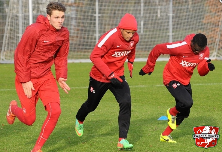 Shadrach Eghan, first from right, training at F C Twente with his club team-mates