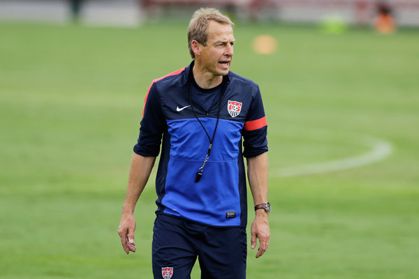USA coach Jurgen Klinsmann training side in Sao Paolo