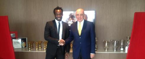Michael Essien and AC Milan chief Adriano Galliani