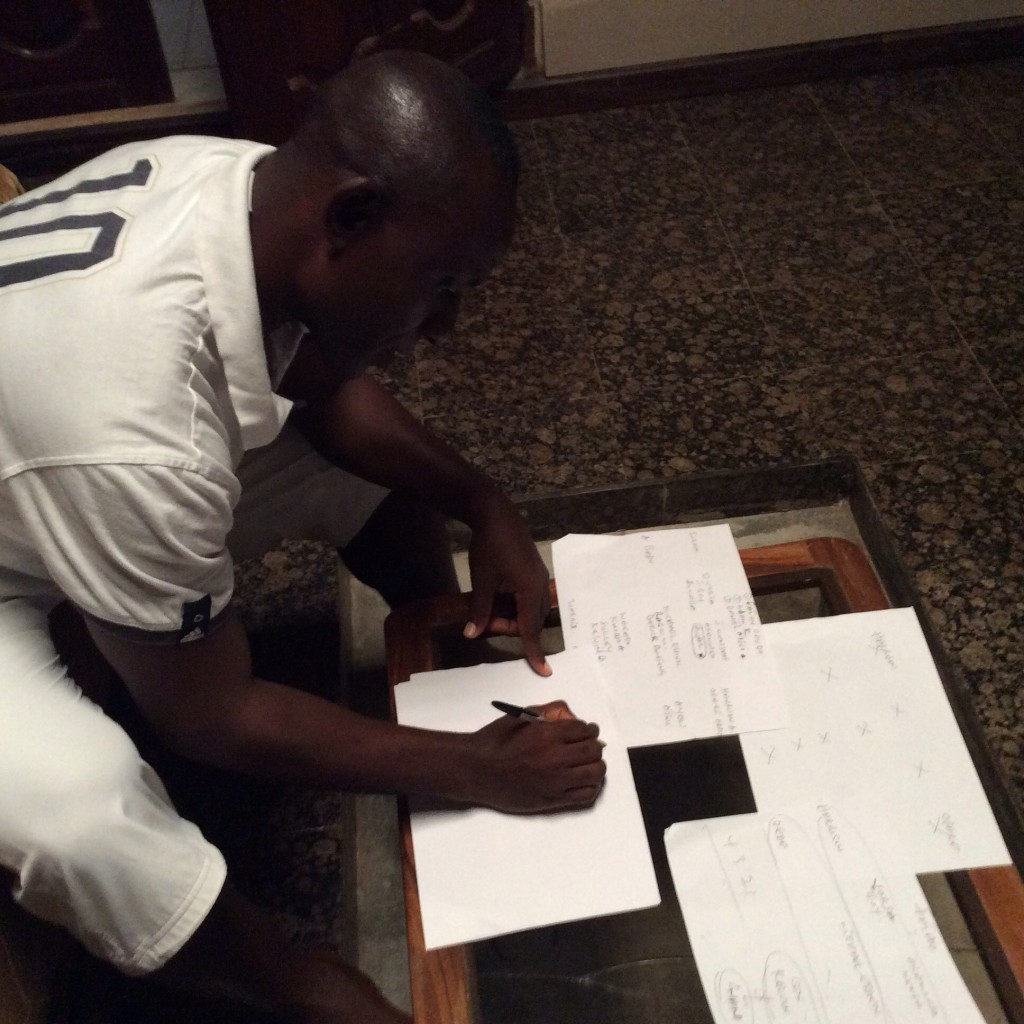 Felix Aboagye on the drawing board as he lines up his men for 2014 World Cup