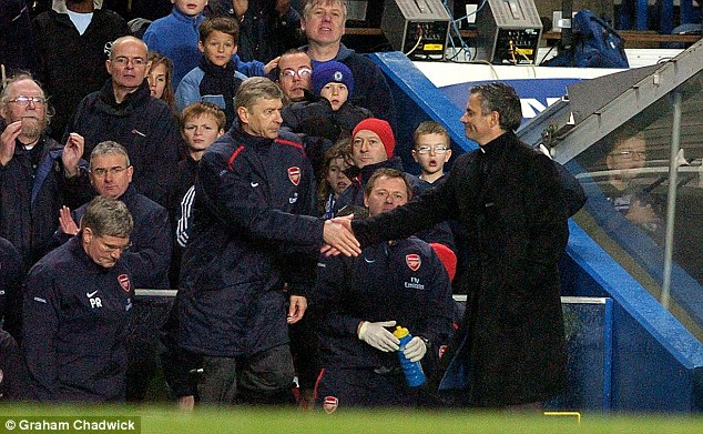 Arsene Wenger and Jose Mourinho in a handshake before a match.
