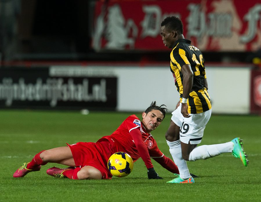 Christian Atsu gets the better of a Twente challenger in Saturday's game