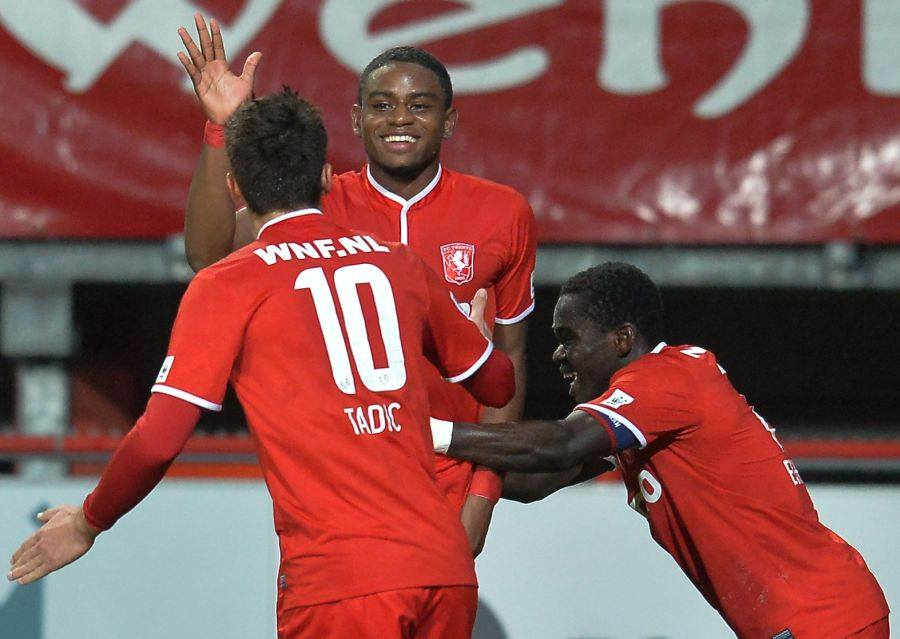 Eghan celebrates with his Twente team-mates