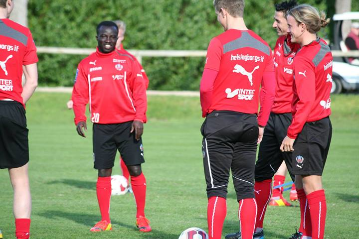 Ema Boateng shares a joke with his Helsingborg team-mates