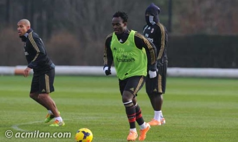 Michael Essien training with AC Milan