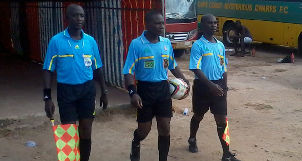 Referee SB Bortey in the middle passed the test.