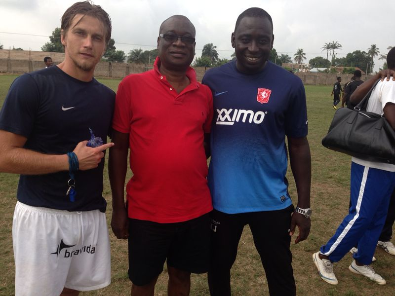 Dr KK Sarpong and head coach Tom Stand and his assistant.