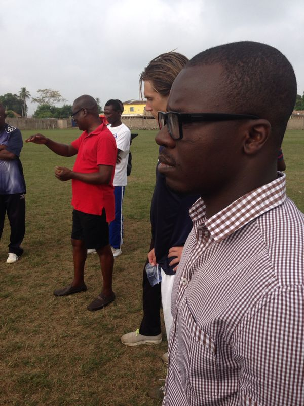 FIFA agent Oliver Arthur and Dr KK Sarpong at the Bechem United training ground.