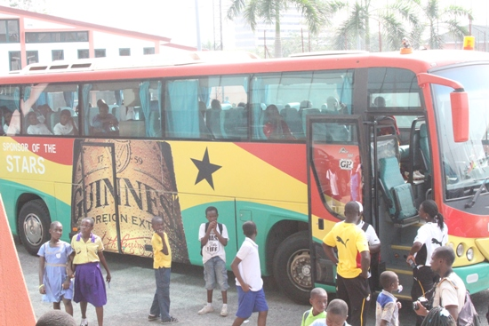 The Black Queens remained in their tean bus when they arrived to train at the Accra Sports Stadium