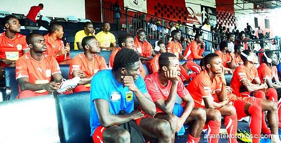 Kotoko players at the Antoinette Tubman Stadium in Monrovia