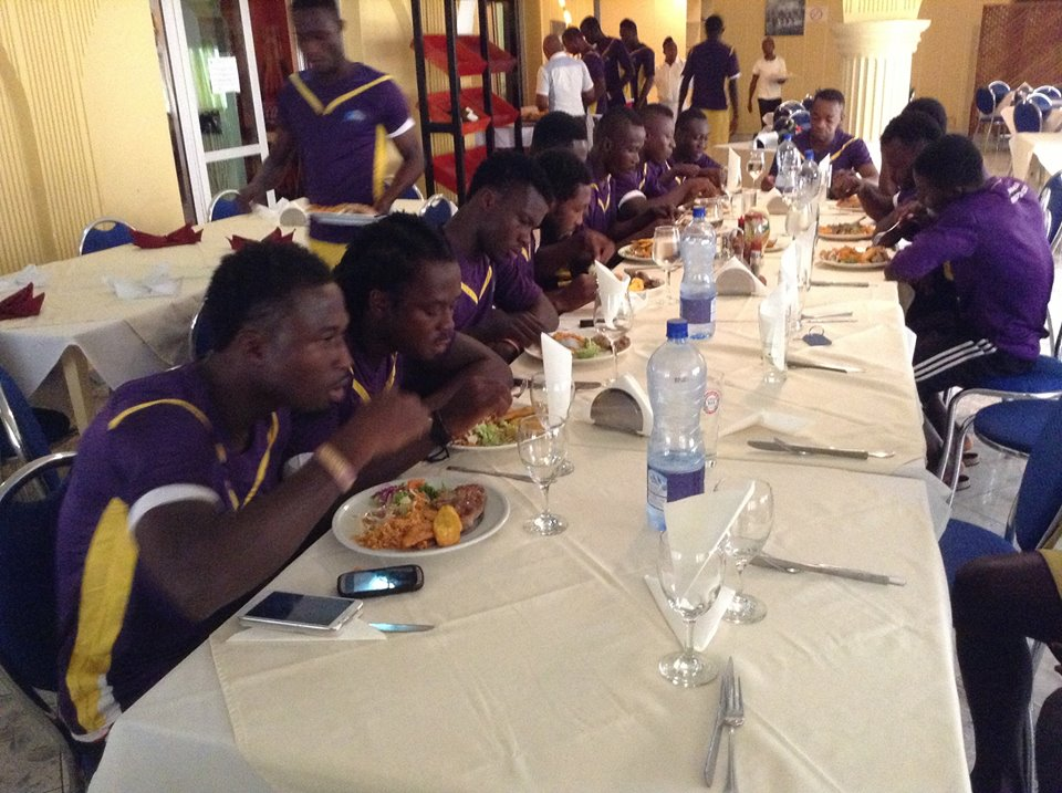 Players having their breakfast