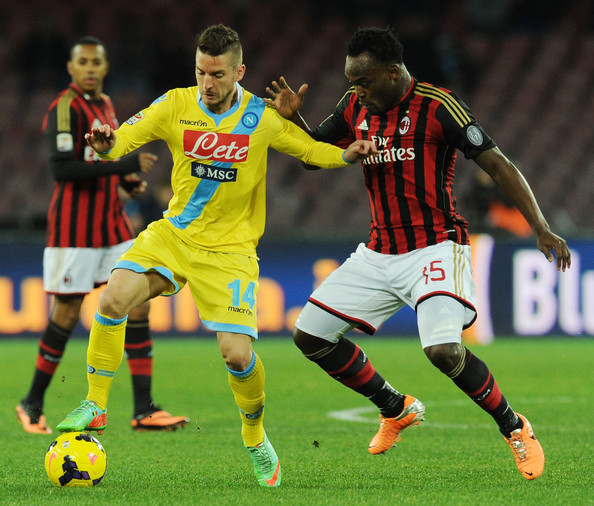 Michael Essien in action for Milan against Napoli