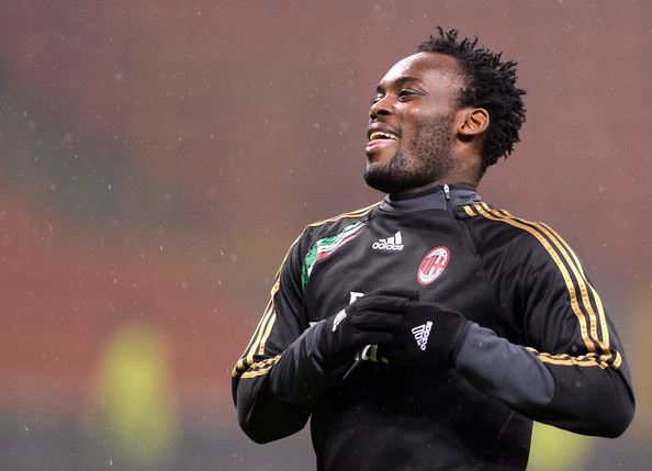 Michael Essien is in action for AC Milan
