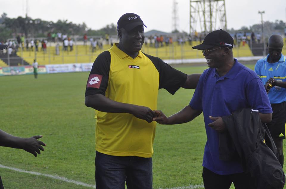Dwarfs coach Professor Mintah, right with Bashir Hayford, says his side will face Kotoko squarely