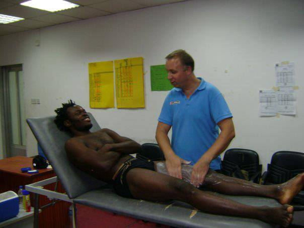 Yahaya Mohammed being prepared for a medical at Ittihad