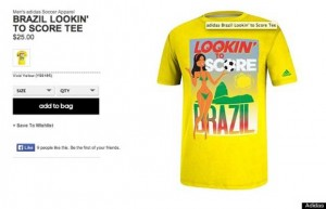 An advertisement for a T-shirt sold on Adidas' website, 'Lookin' to Score,' with a woman in bikini in front of the word 'Brazil' and an image of the Sugar Loaf mountain in the background.