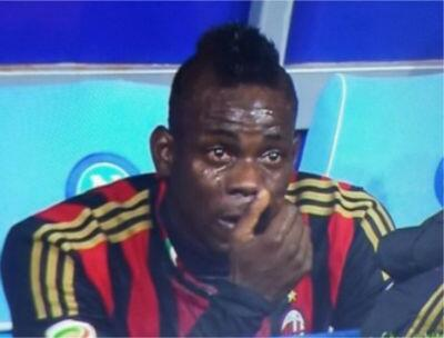 Italian striker of Ghanaian descent Mario Balotelli was reduced to tears on Saturday night after the AC Milan attacker was taken off with 15 minutes to go at Napoli.
