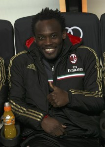 Ghana midfielder Michael Essien was hurriedly put on AC Milan bench on Saturday, just three days after joining the Italian club from Chelsea.