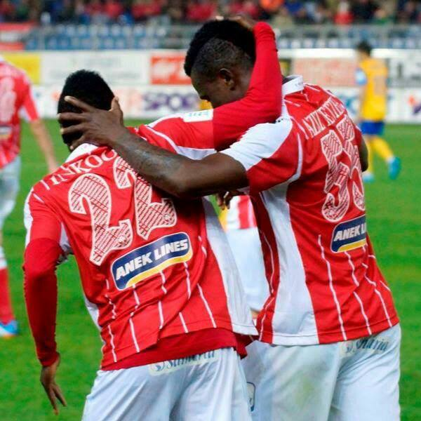 Abdul Aziz Tetteh with Samuel Inkoom after scoring in Platanias win