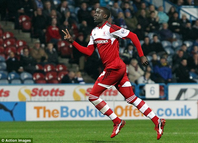 Albert Adomah celebrates