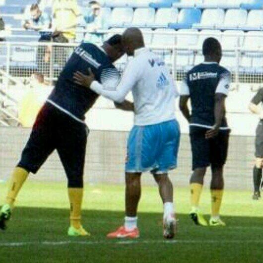 Brothers together during warm-up training
