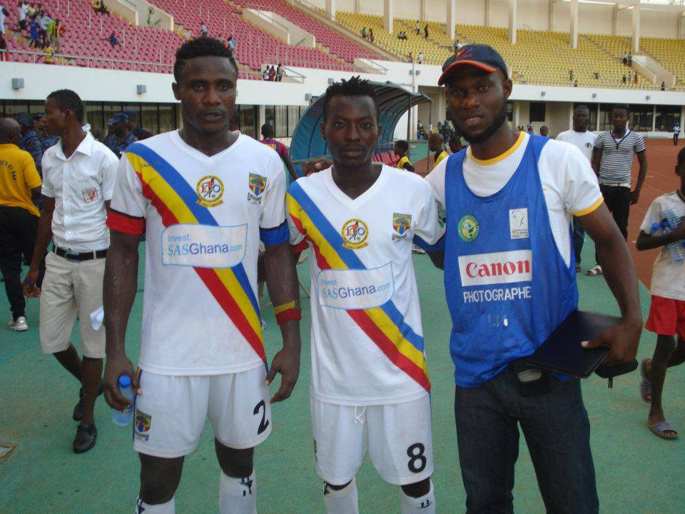 Defender Nuru Suley, left with team-mate Kofi Abangan and Hearts press man, is confident of the Phobians success