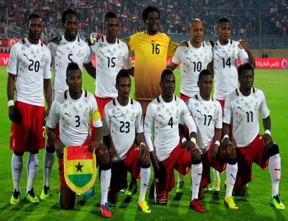 Ghana's line-up against Egypt in Cairo.