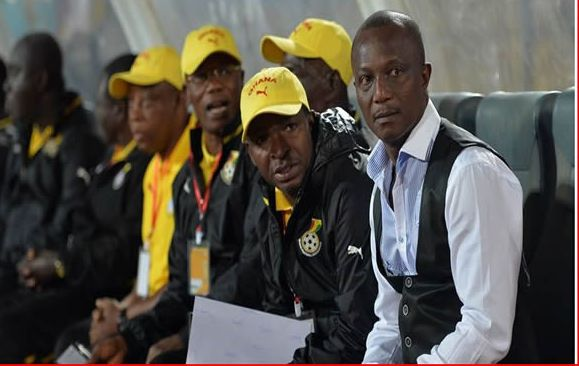 Ghana coach Kwesi Appiah and the members of his technical staff on the bench