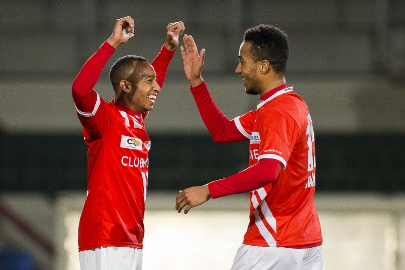 Jonathan Opoku celebrates his goal with a team-mate