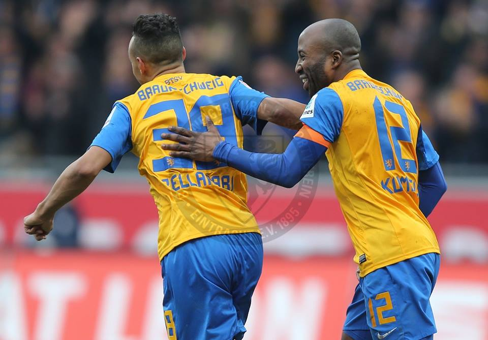 Karim Bellarabi, left celebrating a goal for Eintracht Braunschweig, has been linked with Everton, Stoke City and Southampton