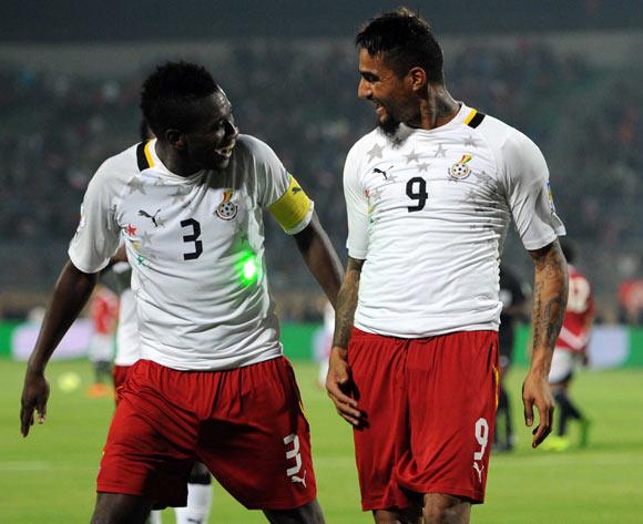 Kevin-Prince Boateng celebrating with Asamoah Gyan.