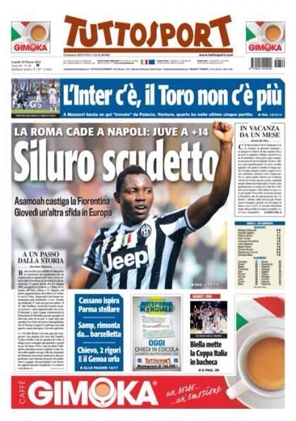 Kwadwo Asamoah recognized in the front page of Tuttosport