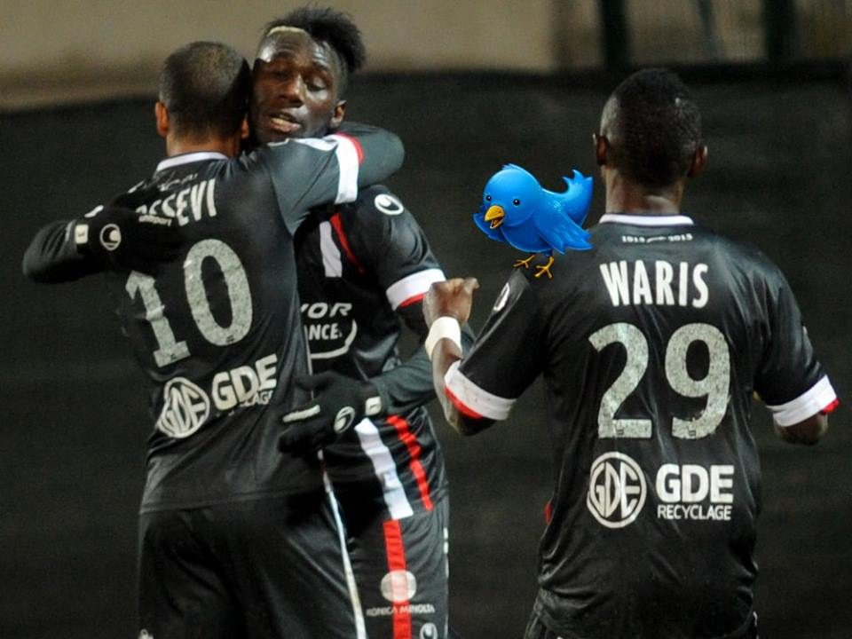 Majeed Waris scored the only goal of the game Valenciennes against Jonathan Mensah's Evian TG