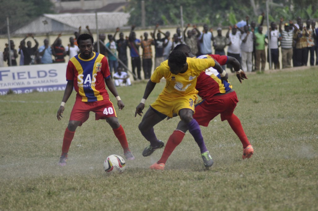 Medeama and Hearts of Oak in action at the T&A Park.