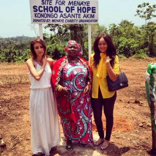 Menaye Donkoh Muntari (right) with mother-in-law (middle)