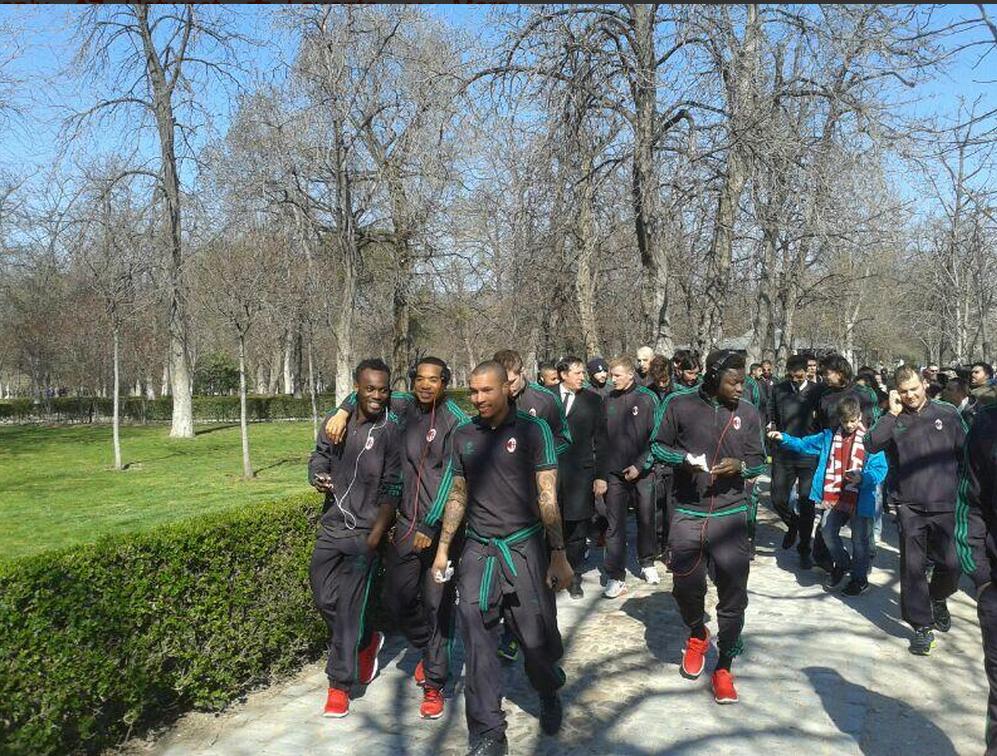 Muntari, Essien and AC Milan teammates stroll in Madrid ahead fo Atletico clash