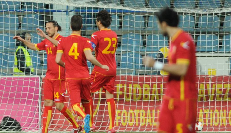 Montenegro celebrating their goal