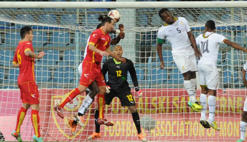 The Black Stars defending a corner-kick.