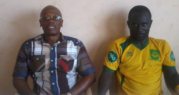 Professor Mintah, right with Dwarfs captain Stephen Aidoo, has quit his role as Dwarfs head coach